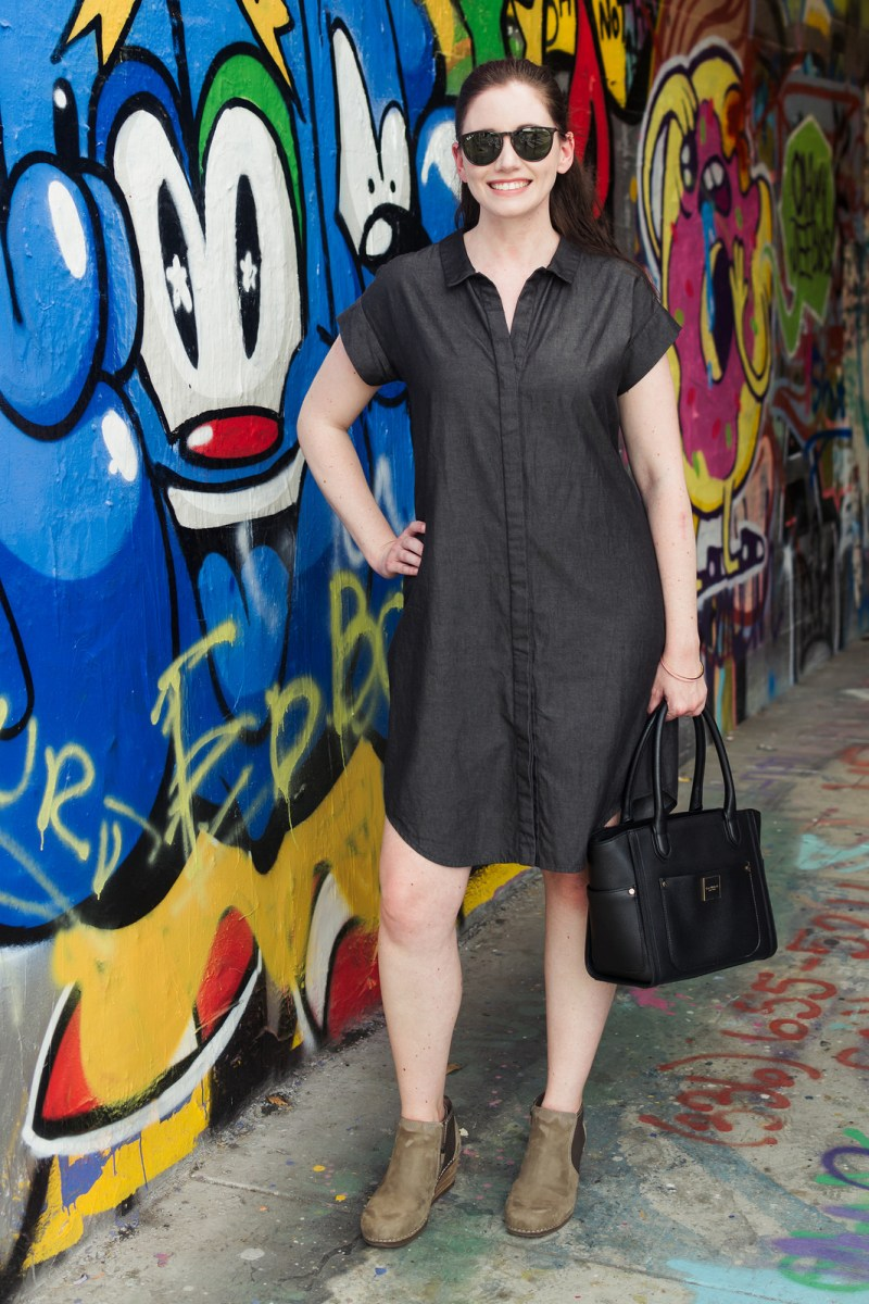 Jenny Maker Black Tencel Denim Shirtdress-1