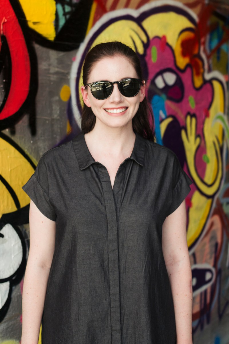 Jenny Maker Black Tencel Denim Shirtdress-3