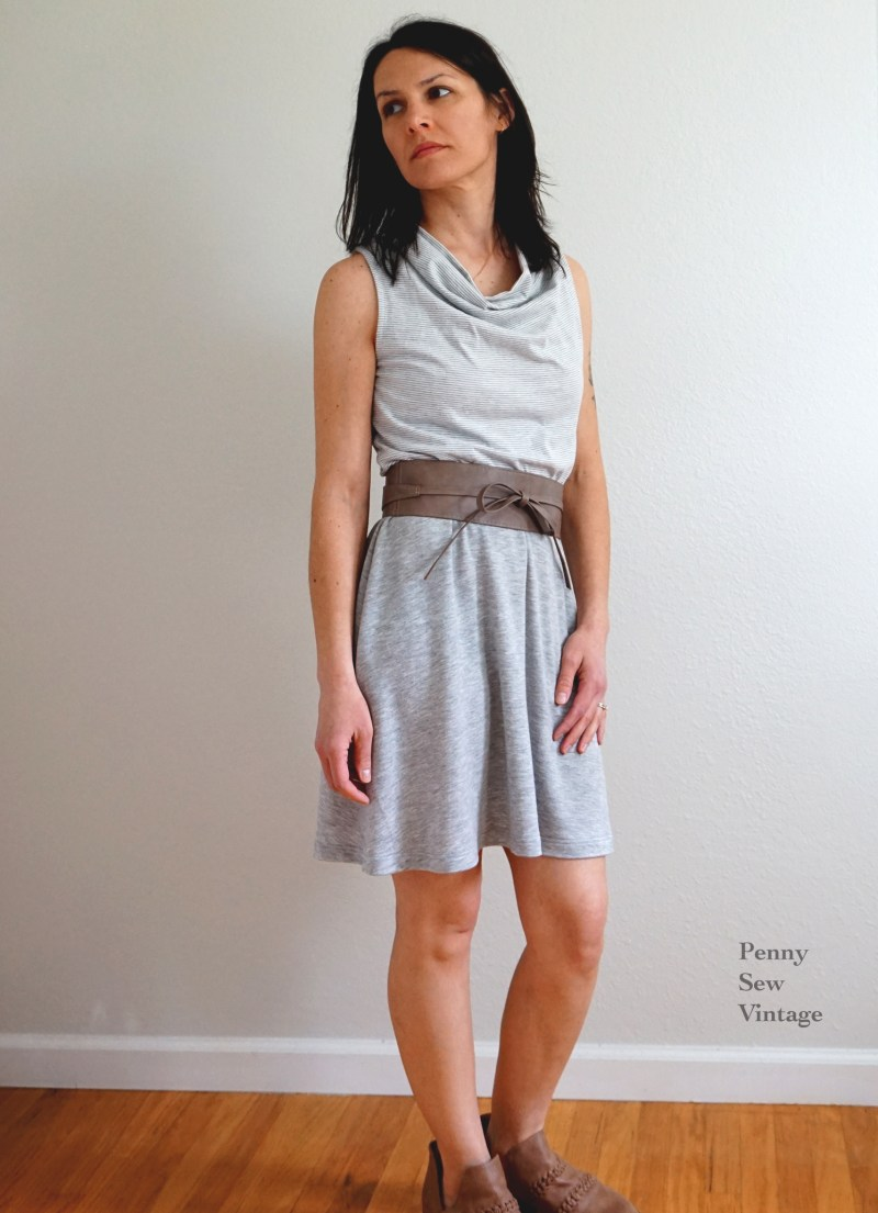 The Draped Cowl Neckline in Recycled Polyester and ITY Knit