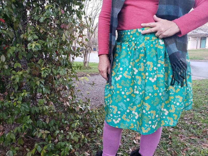 green skirt close