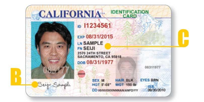 California ID card - front