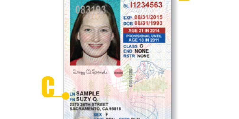 California Driver License Under 21 - front