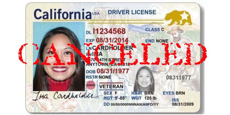 Canceled California Driver License