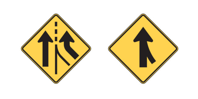 California road signs: Added Lane - Merging Traffic