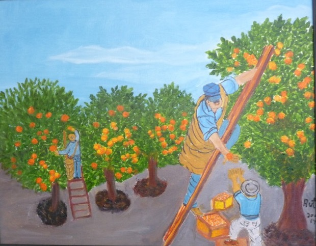 This painting was done by Henry Gonzales's mother depicting his early work in the fields