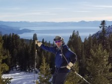 Oh, yeah! What a day! Yours truly heading back to the barn and yup, that's Lake Tahoe in the background.