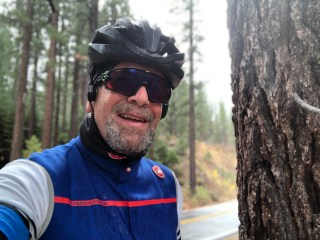 Mark on a soggy Ebbett's Pass morning.