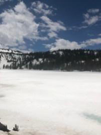 A frozen Kinney Reservoir.