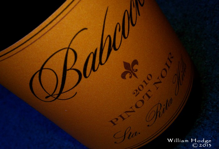 California Bottle of Wine Babcock Winery Pinot Noir