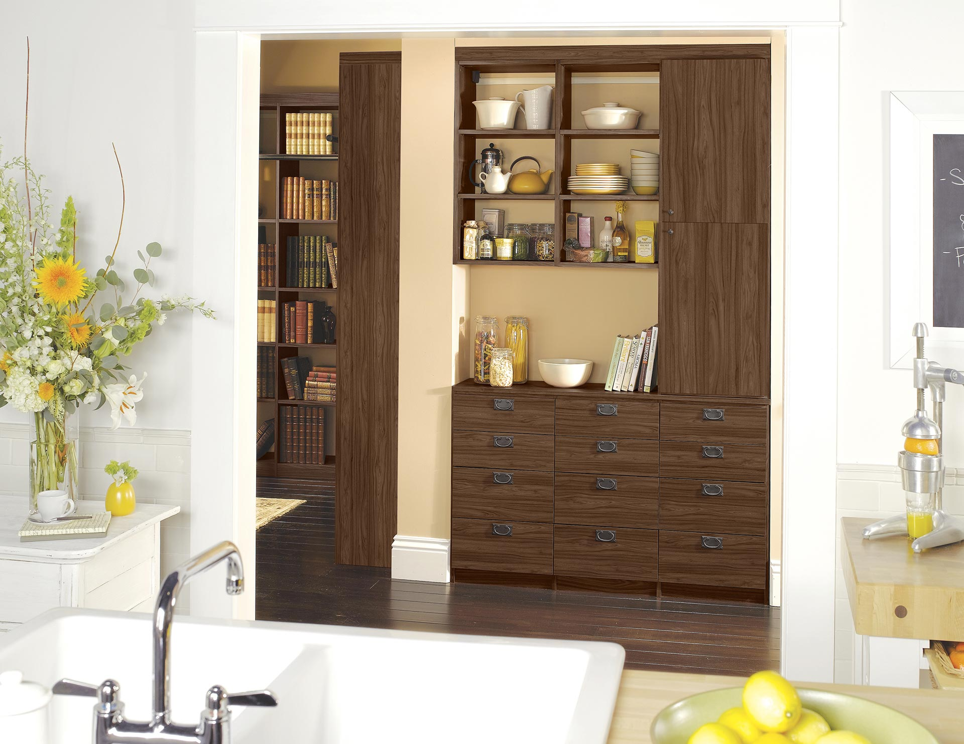 kitchen closets booth table pantry cabinets organization ideas california dark wood built in storage and library shelving with drawers
