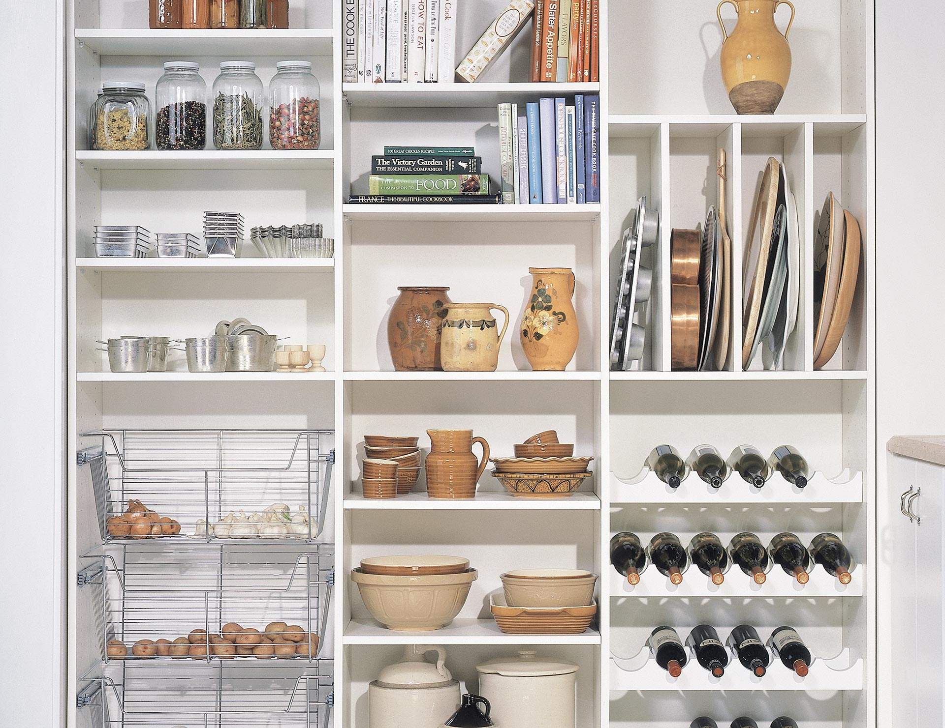 kitchen pantry storage cherry cabinets organization ideas california closets white themed with racks shelving and metal baskets