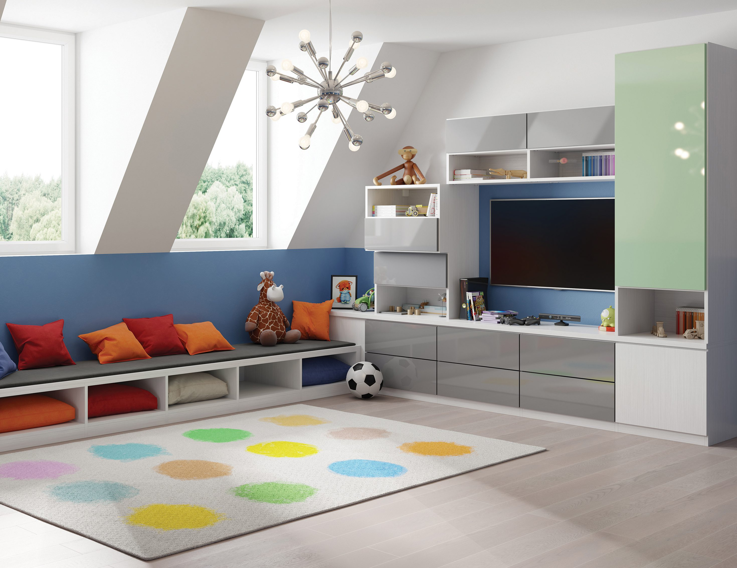 kid friendly living room decorating ideas cherry wood end tables family storage design by california closets cheery attic playroom