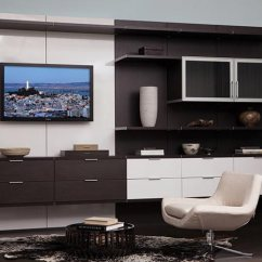 Media Center Living Room Rugs For Rooms Sale Built In Entertainment Centers Cabinets California Closets Virtuoso Finish With Gloss White Accents And Dark Brown Venetian Wood