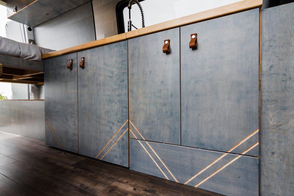 Sprinter camper van kitchen cabinets.