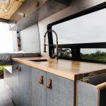 Camper van kitchen with window.