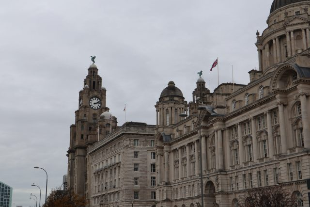 The Royal Liver Building at Pier Head in Liverpool, England