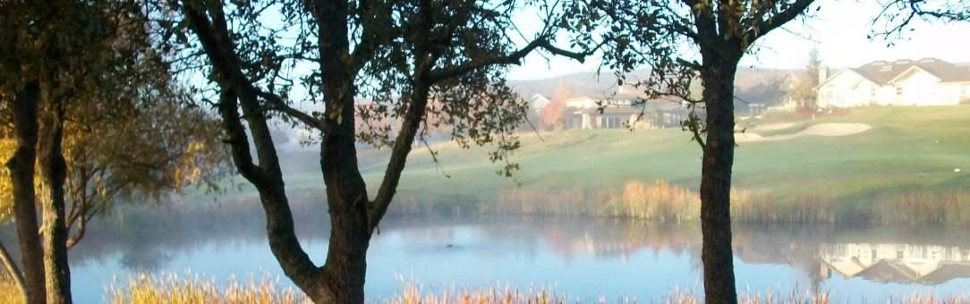 Sunrise over a pond at Copper Valley Golf Course in Copperopolis, Calaveras County, California