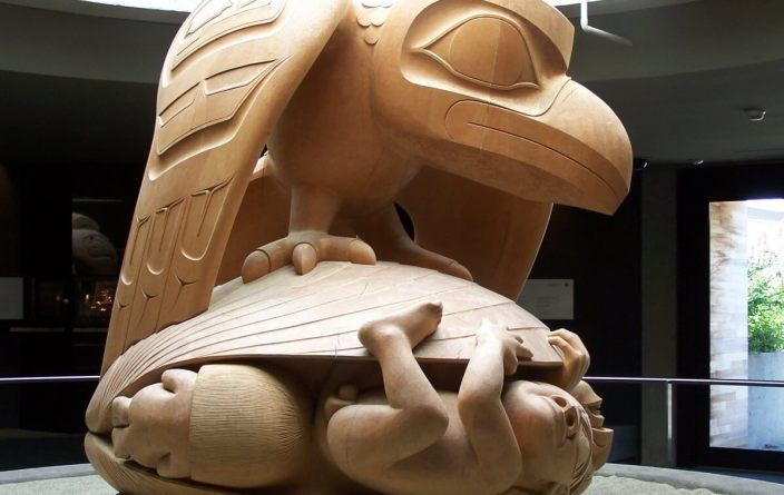 A large wooden carved sculpture by Bill Read at the Museum of Anthropology in Vancouver, BC, Canada