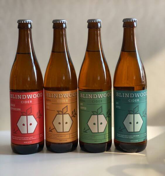 Four bottles of Blindwood Cider from the Flagship Six Pack, a gift idea from Blindwood Cider Company