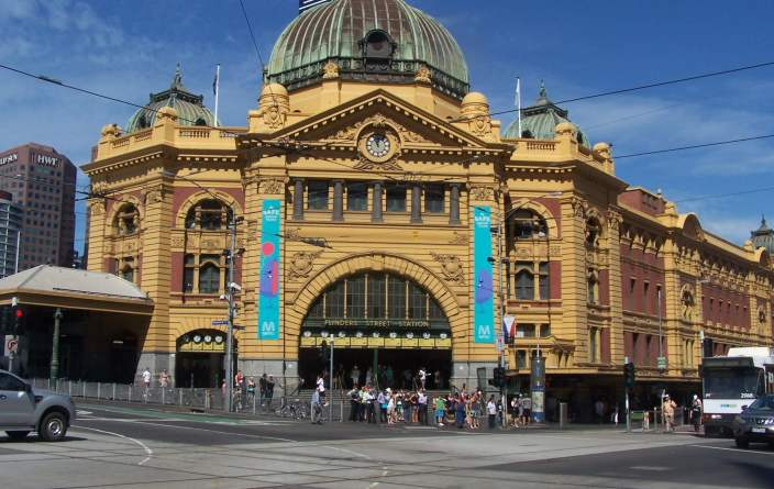 Flinders Street Railway Station in Melbourne, Australia
