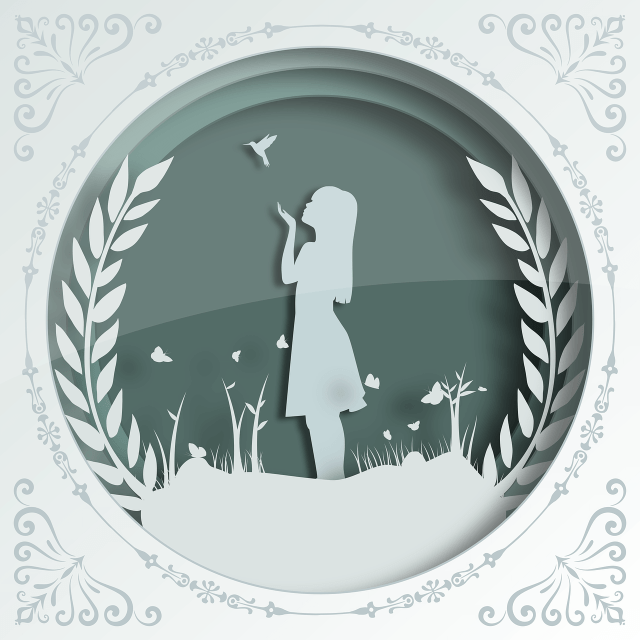 a framed paper cut artwork featuring a girl, butterfly and leaves