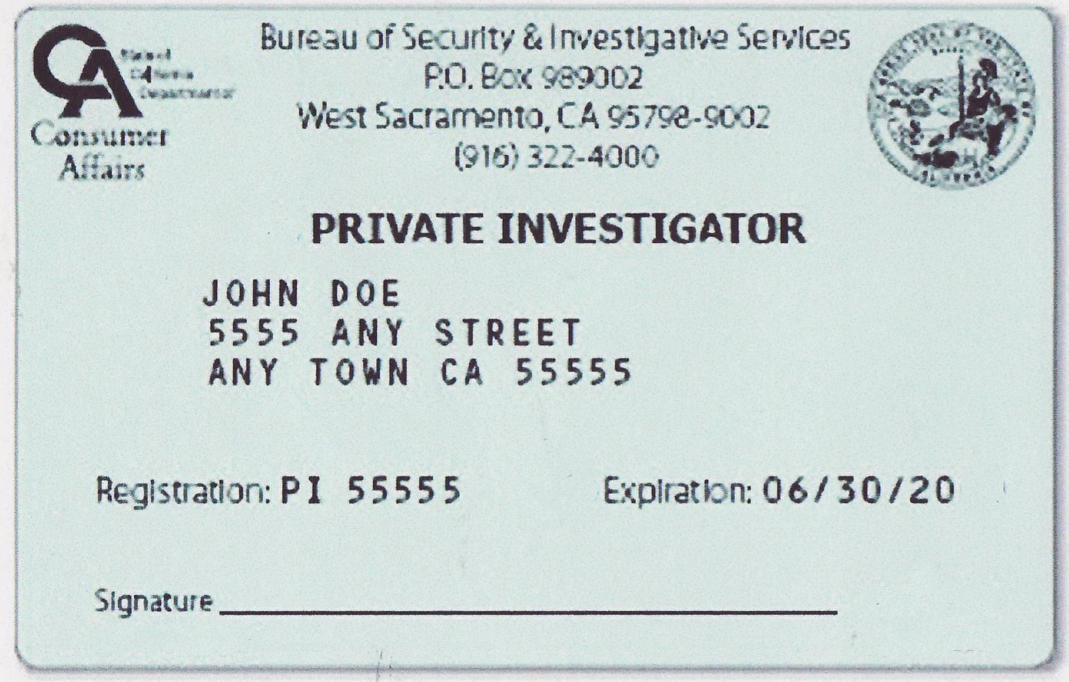 California Private Investigator 2019 CA PI license