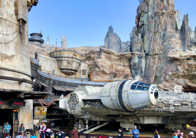 The Millennium Falcon inside Disneyland's Star Wars-themed Land