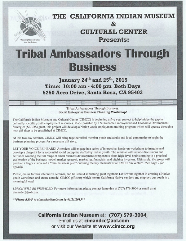 Tribal Ambassadors Through Business – Social Enterprise Business Planning Workshop
