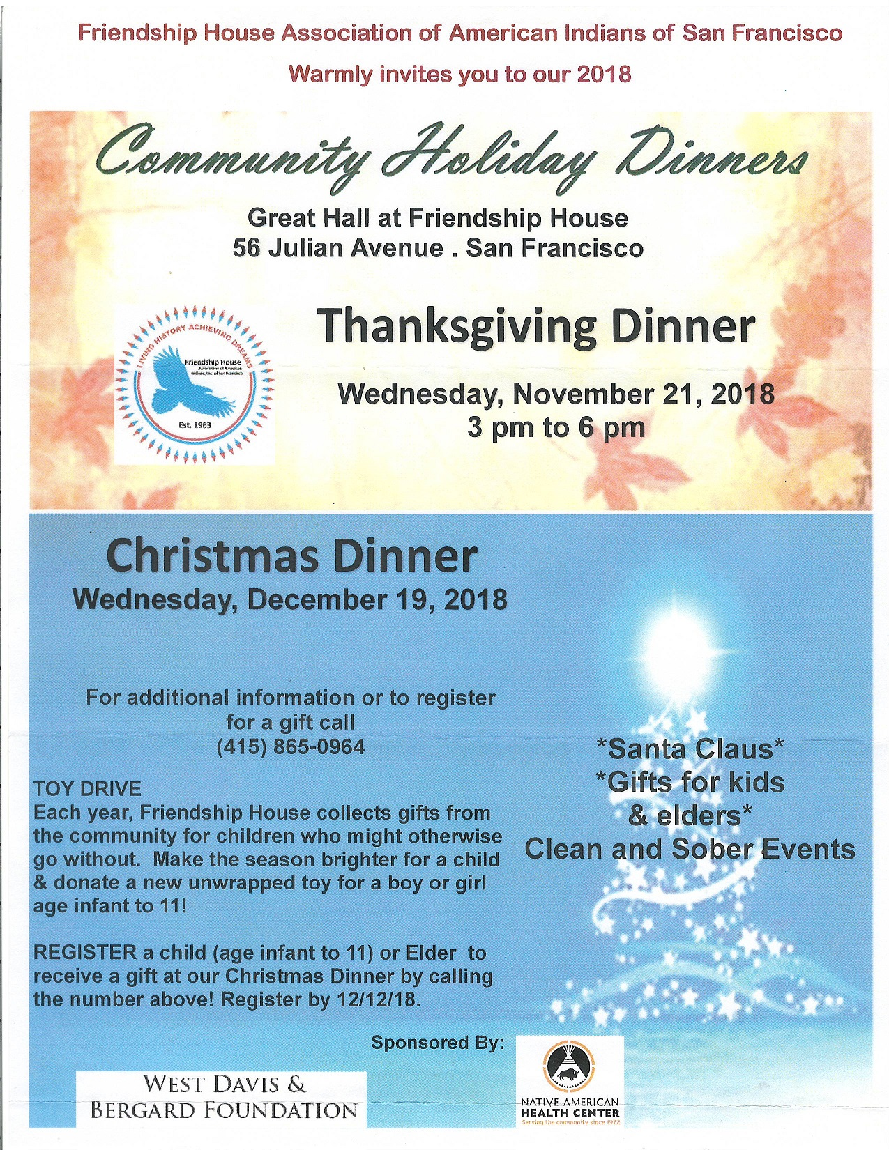 Friendship House Hosts Holiday Dinners
