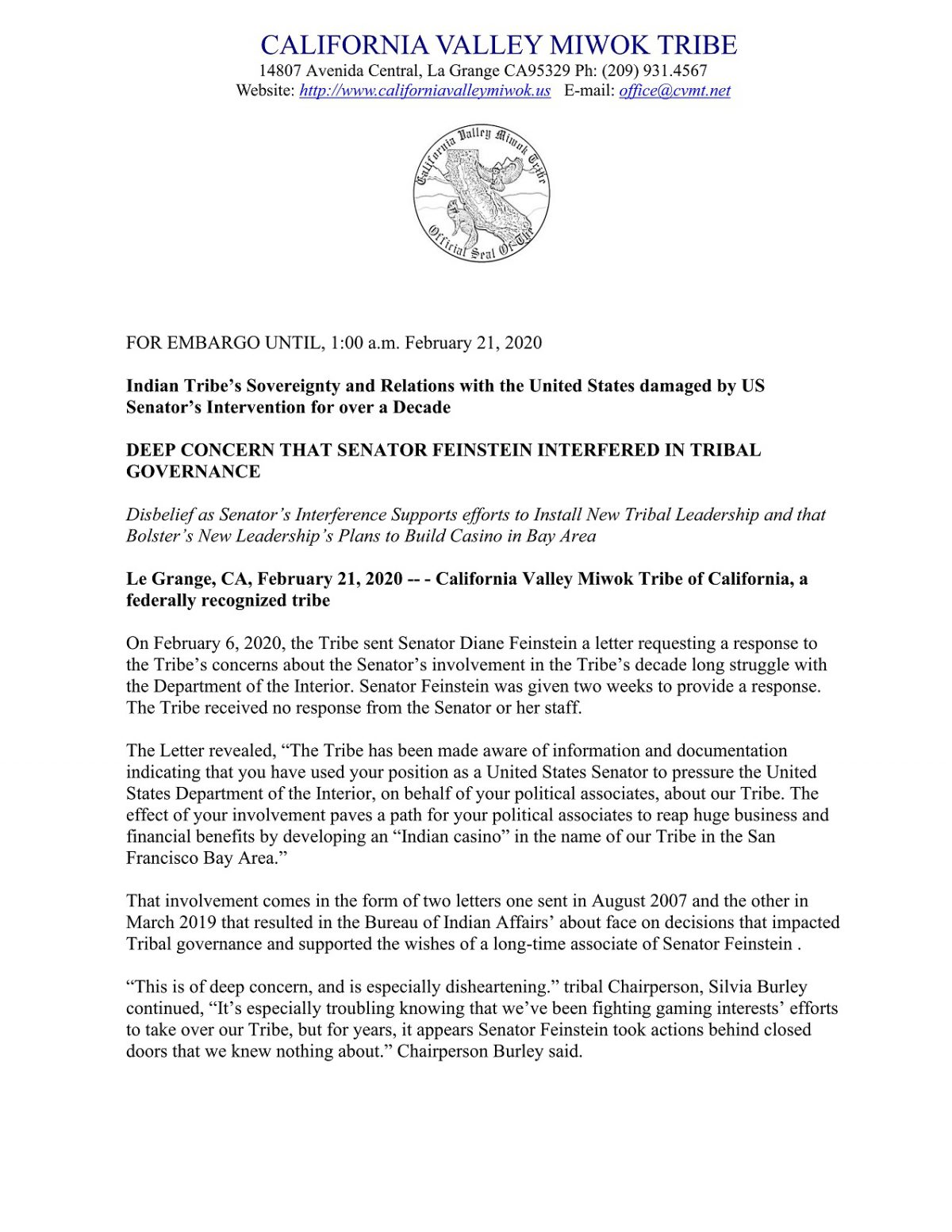 Official tribal press release