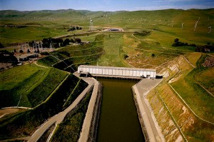 The state's Harvey O. Banks Pumping Plant lifts water from the Delta 244 feet up into the California Aqueduct for export to cities and farms south. Source: State Dept. of Water Resources
