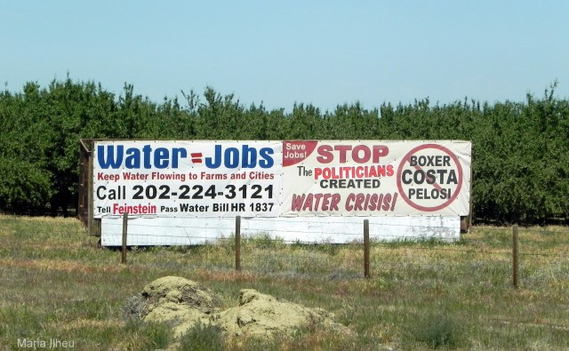 San Joaquin Valley growers use highway frontage to protest drought-year cuts in water deliveries. Photo by Maria Ilheu, May 2004
