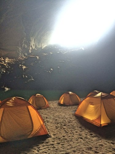 Tents in cave