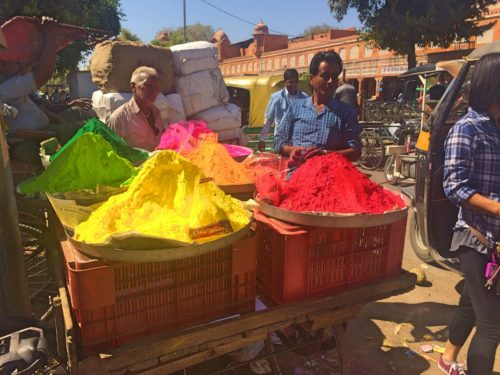 Colorful powders for the Holi festival in India