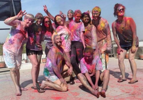 Group photo at Holi
