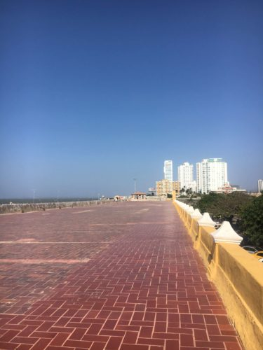 Wide open city walls in Cartagena