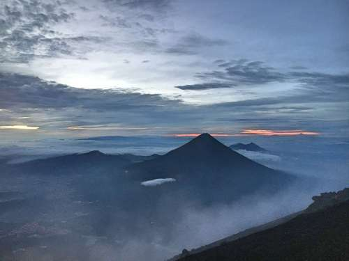 Sunrise over Acatenango volcano