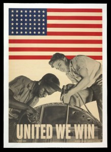 Propaganda poster from World War II. Many Africans moved to California to work in factories for the war effort