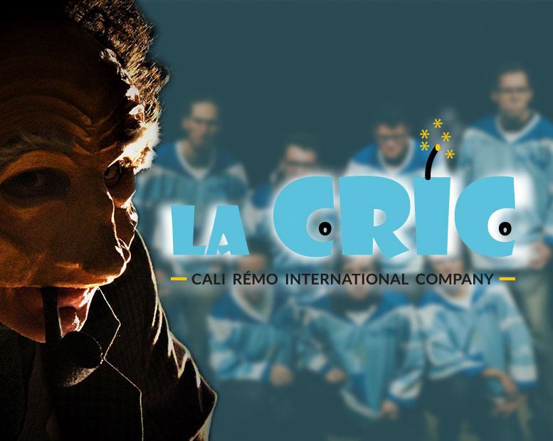 Logo de La CRIC, avec Maurice le clown et une équipe d'improvisation en fond.