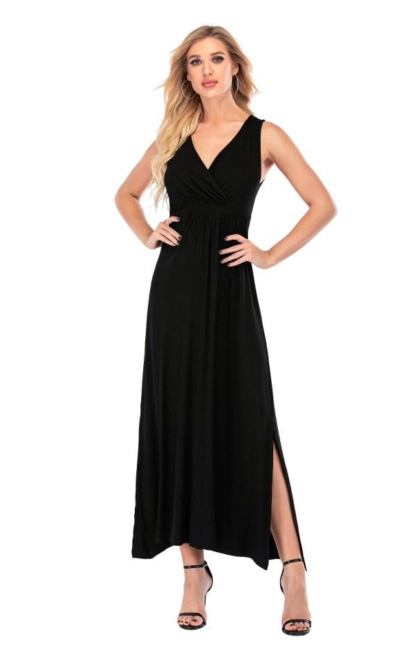 5 Calison Women's Viscose Long V-Neck Maxi Designer DRESS