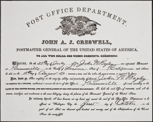 Certificate of appointment for Postmaster of Guerneville — Calisphere