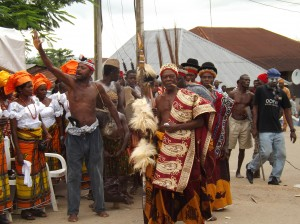 The 'Okpebri' of Ugep, leads an entourage of chiefs