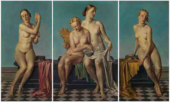 Adolf Ziegler, The Four Elements: Fire, Water and Earth, Air