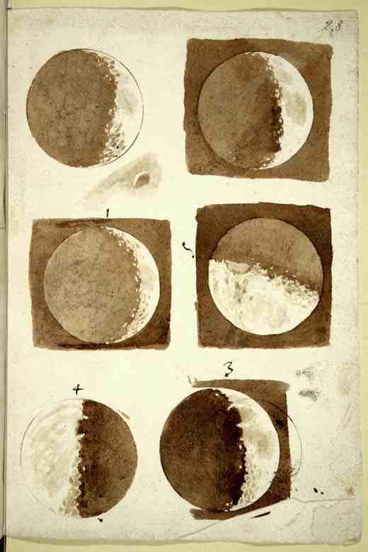 Watercolors of moon by Galileo Galilei