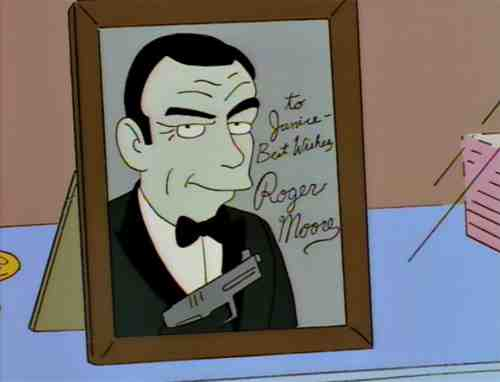 Sean Connery picture signed by Roger Moore, James Bond on The Simpsons