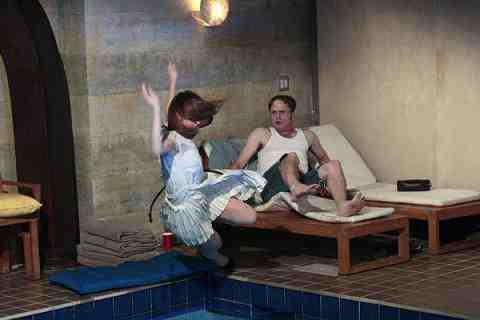Ellie Kemper as Erin Hannon and Rainn Wilson as Dwight Shrute in The Office Pool Party