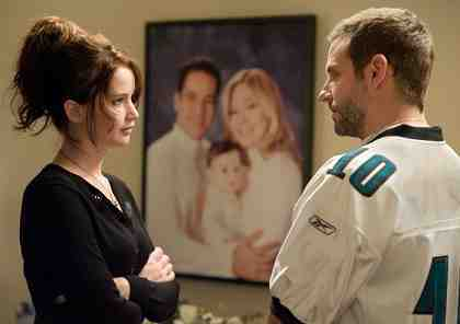 SILVER LININGS PLAYBOOK, from left: Jennifer Lawrence, Bradley Cooper,