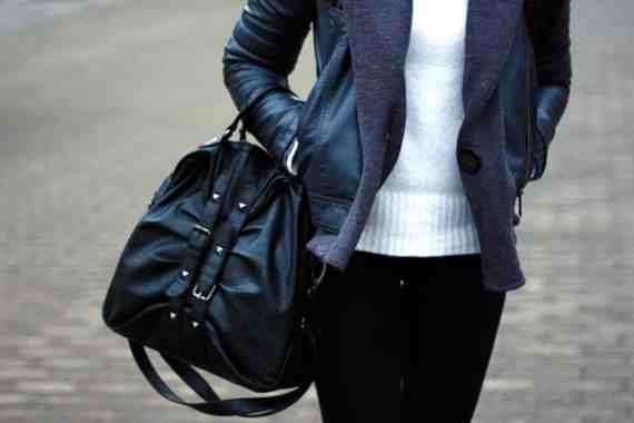 CLR Street Fashion: Esprit bag and leather jacket