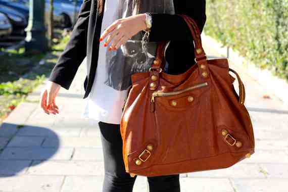 Balenciaga bag, Religion T-shirt, Mango blazer