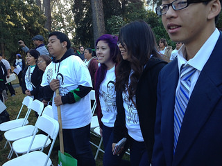 Students rallying outside of State Board of Education meeting in Sacramento
